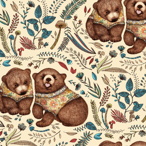 Whimsical Bear Pair with Fantasy Flora