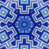 geometric iznik tile in blue and white