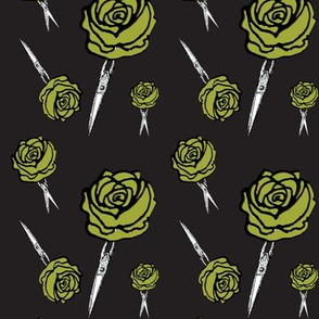red roses with thorns green