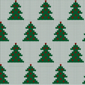 Christmas trees white knit (large scale)