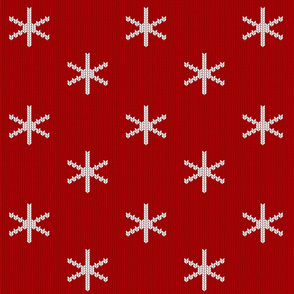 snowflakes red knit (large scale)