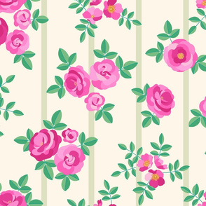 Chintz roses stripe cream pink