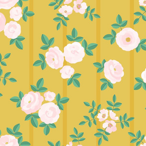 Chintz roses stripe mustard blush