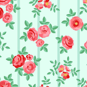 Chintz roses stripe mint red