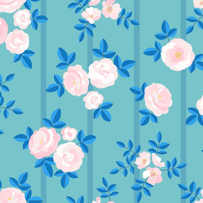 Chintz roses stripe turquoise pale pink
