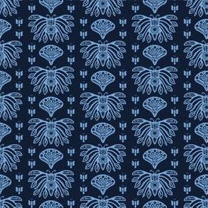 Indigo blue butterfly paisley Japanese style pattern.