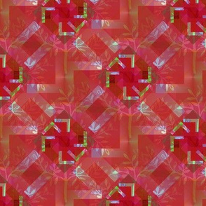 Leafy Kaleidoscope in Red, Lime and Lavender
