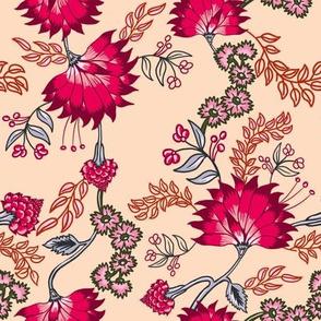 Peachy floral Chintz