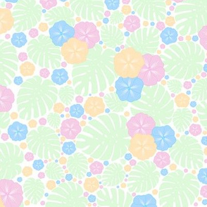 Tropical Chintz Pastel Perfection on White