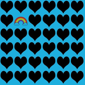 Black hearts with rainbow on blue