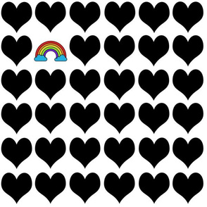 Black hearts with rainbow on white