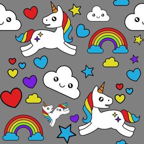 Mystical Cartoon Unicorns and Rainbows on gray