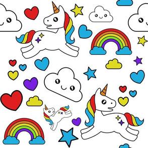 Mystical Cartoon Unicorns and Rainbows on white
