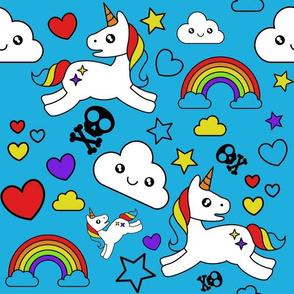 Mystical Cartoon Unicorns skulls and Rainbows on blue