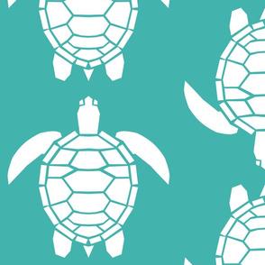 Jumbo White Turtles on Verdigris
