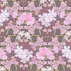Pink and White Oleander Victorian Wallpaper