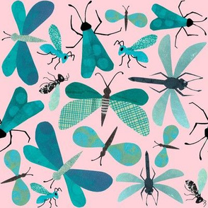 Teal Bugs on Pink
