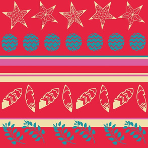 Bohemian christmas golden stars and feathers, turquoise balls and branches