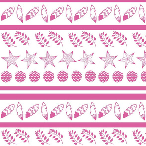 Bohemian christmas pink stars, feathers, balls and branches
