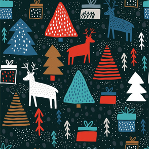 Whimsical wonderland wallpaper - christmas forest with raindeers on dark background