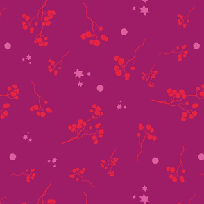 Bohemian christmas pink and red stars, balls and branches