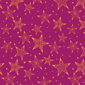 Bohemian christmas golden and purple stars