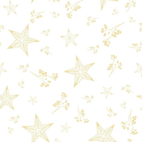 Bohemian christmas golden stars, branches