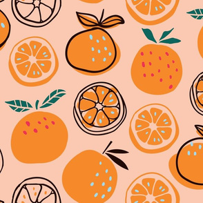Pop Art Citruses - oranges on pink background