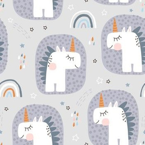 Cute unicorns with rainbows
