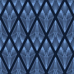 Modern indigo blue geometric hand drawn linear diamond.