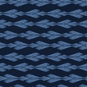 Modern indigo blue geometric hand drawn diamond stripe.