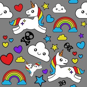 Mystical Cartoon Unicorns skulls and Rainbows on gray