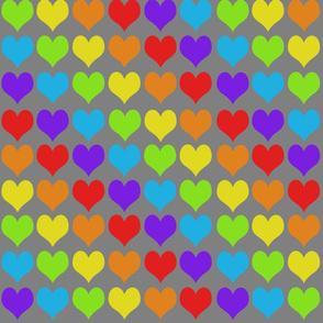 Rainbow hearts on gray