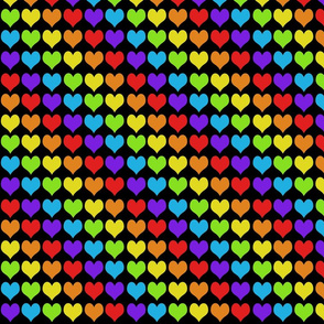 Rainbow hearts on black smaller