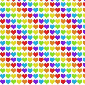 Rainbow hearts on white smaller
