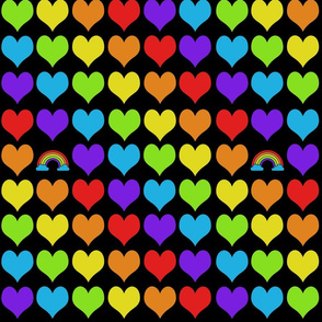 Rainbow hearts with rainbow on black