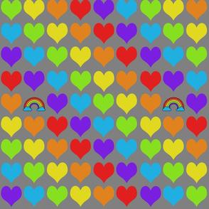 Rainbow hearts with rainbow on gray