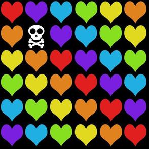 Rainbow hearts with skull on black