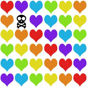 Rainbow hearts with skull on white
