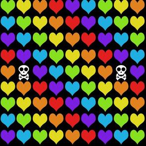 Rainbow hearts with skull on black smaller