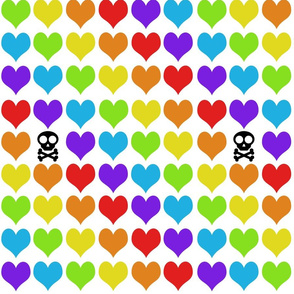 Rainbow hearts with skull on white smaller