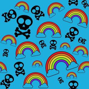 Rainbows and Skulls on blue