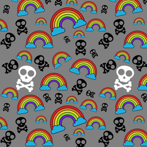 Rainbows and Skulls on gray 2