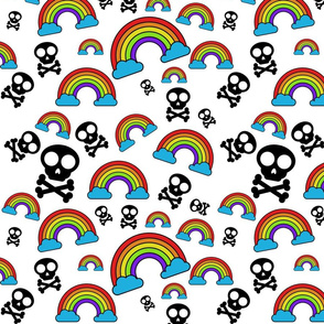 Rainbows and Skulls on White