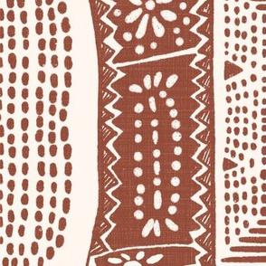 Block print in Rust and Cream
