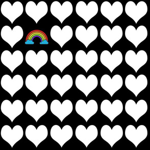 White hearts with rainbow on black