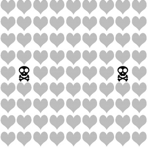 Black skulls with checkered hearts