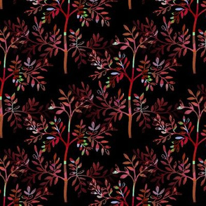 Leafy Tree Red Lime Kaleidoscope on black