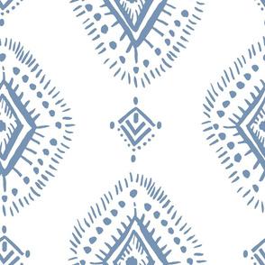 "21""  Blue and White Aztec Geometric Print"