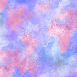 Watercolor World Map in Pink, Lavender and Blue